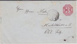 Württemberg Ganzsache U 22 K3 Kirchheim Teck N Mühlheim Am Bach OA Sulz 1875 - Wuerttemberg