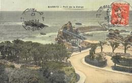 Biarritz - Le Pont De La Vierge - Carte Vernie, Toilée Et Colorisée - Biarritz