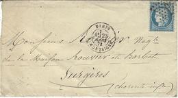 1873- Lettre De PARIS /  R. MONTAIGNE  Cad  Affr. N° 60 Oblit.  étoile 9 - Postmark Collection (Covers)