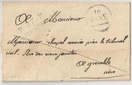 RARE AINSI, P 37 P LA COTE ST ANDRE + DATEUR SANS L'ANNEE, Isère Sur Lettre Sans Correspondance. Indice 14 ++ - Storia Postale