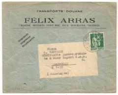 TARIF Imprimé Pour L'Etranger, 30C PAIX Seul Sur Enveloppe Ouverte, HOROPLAN CERBERES Pyrénées Orientales. - Marcophilie (Lettres)