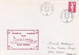 BEM  MONGE TLD BREST NAVAL 12/4/1991 - Marcophilie (Lettres)
