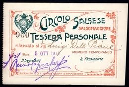 #30586 - CIRCOLO SALSESE - Tessera Personale N. 960, Salsomaggiore Il 5/10/1911. - Documentos Antiguos