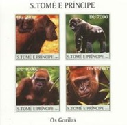 S. Tomè 2004, Animals, Gorillas, 4val In BF IMPERFORATED