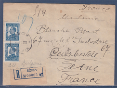= Lettre Recommandée De Sofia (Bulgarie) à Courbevoie (France) 1932 Avec 2 Timbres - Cartas
