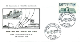 LIMOGES (HAUTE VIENNE) - MEETING NATIONAL DE L'AIR LIMOGES-BELLEGARDE - 1978 - LETTRE ILLUSTREE - BEAU CACHET LOCAL - Marcophilie (Lettres)