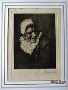 GRAVURE /  ENGRAVING  XIX° - TETE DE VIEILLE FEMME Signée Mortiaux 1911 - Genre H.Daumier - Engravings