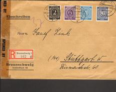 Alli.Bes Einschreibe-Zensur-Fernbrief M.Ziffernfrankatur  V.Braunschweig M.Eßlinger Zensurvermerk V.1947 - Gemeinschaftsausgaben