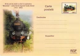 ROMANIA 01  90 Jahre Bahnstrecke Turda - Abrud   Dampf Lokomotiv  Auflage 5.000  Cod  229/2002 - Roemenië
