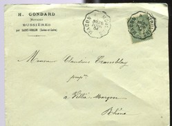 M3 SEMEUSE LIGNEE  15 C TAD CONVOYEUR AMBULANT MACON A MOULINS 28 JUIN 1904 - Railway Post