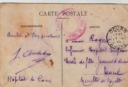 CARTE  COURS RHONE HOPITAL DE COURS  POUR INFIRMIER HOPITAL TEMPORAIRE DE TOUL  / 159 - Postmark Collection (Covers)