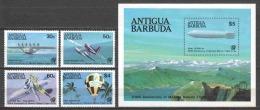 Antigua & Barbuda 1983 Mi 737-740 + Block 72 MNH AIRPLANES ZEPPELIN - Airplanes