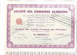 Action, Titre De 2500 Francs Au Porteur Société Des Domaines Algériens 1964 - Afrique