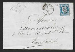Cérès  N° 60 B  ( Type II ) Avec Variété Trait Blanc Devant Le Front  Sur Lettre  De 1874 - Marcophilie (Lettres)