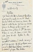 Août 1917 - ROYAT (63) - ROYAL HOTEL St -MART - Félix Cousteix - Lettre à L'entête Imprimé - Documents Historiques