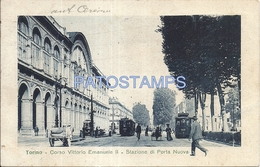 64396 ITALY TORINO TURIN PIAMONTE CORSO VITTORIO EMANUELE II & STATION TRAIN NEW DOOR POSTAL POSTCARD - Italia