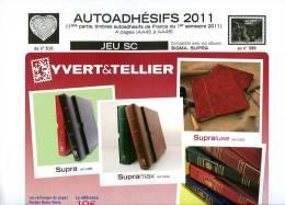 JEU FRANCE SUPRA YVERT AUTOADHESIFS 2011 1ER SEMESTRE - Pré-Imprimés