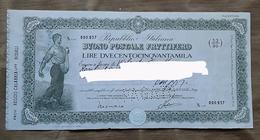 Buono Postale Fruttifero - Lire Duecentocinquanta Mila - Banque & Assurance