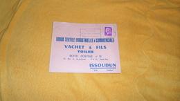 ENVELOPPE UNIQUEMENT DATE ?. / VACHET & FILS TOILES UNION TEXTILE INDUSTRIELLE & COMMERCIALE. ISSOUDUN / CACHET + TIMBRE - Marcophilie (Lettres)