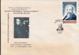 WRITER, NICOLAE IORGA, SPECIAL COVER, 2000, ROMANIA - Escritores