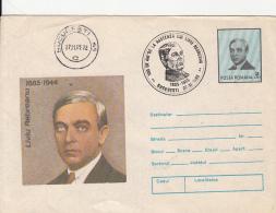 WRITER, LIVIU REBREANU, COVER STATIONERY, ENTIER POSTAL, 1985, ROMANIA - Schrijvers