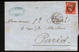 Y & T N°17c,carmin Sur Paille  Sur Lettre De Marseille Avec Correspondance, Obl Pc 1896, Cachet Du 10 Sept 1858 - 1849-1876: Période Classique