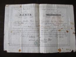 Passeport 1836 Grece Athénes Baviere ? Urlaubspass Cachet  Et Sceau Rapporté - Historical Documents