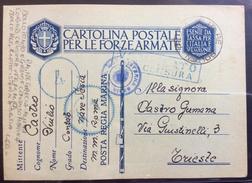 POSTA MILITARE N.106  CARTOLINA POSTA REGIA MARINA + R. MOTOCISTERNA SESIA + CENSURE PER TRIESTE IL 13/11/41 - Militaria