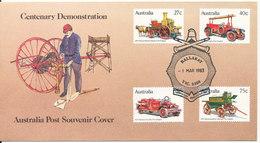 Australia Post Souvenir Cover Victorian Urban Fire Brigade´s Centenary Demonstration 1-3-1983 Complete Set Of 4 With Cac - 1980-89 Elizabeth II