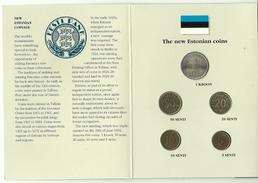ESTLAND ESTONIA Estonie Münzen Im Folder First Official Coin Set Of Estonian Bank 1992 - Estland