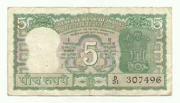 Billet De L'Inde De 5 Rupee. - Inde