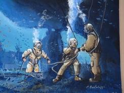 P. BORTOLUZZI. SCAPHANDRIERS PIEDS LOURDS EN PLONGEE. PRINT - Diving