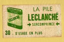 BUVARD : La Pile LECLANCHE Surcomprimée  Verte  Ancien Et Rare - Electricité & Gaz