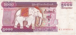 BILLETE DE MYANMAR DE 5000 KYATS  (BANKNOTE) ELEFANTE-ELEPHANT - Myanmar