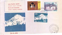 NEPAL - 26-09-1979 - FIRST DAY COVER - VISIT NEPAL SERIES - SHIVA PARVATI, SWARGADWARI, PABIL MOUNTAIN - Nepal