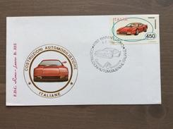 """Busta FDC """"Roma - Luxor"""" Costruzioni Automobilistiche Italiane 1986 Ferrari Testarossa Annullo Maranello (MO) 4-7-1986 - 6. 1946-.. Repubblica"""
