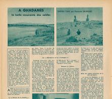 1953 : Document, LIBYE, GHADAMES (3 Pages Illustrées) Rue, Les Deux Idoles, Fort-Saint, Derdj, Aïn-el-Pras, Aïn-el-Sefra - Old Paper