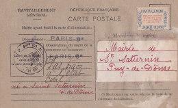 Be - PARIS 9 (75) Ravitaillement Général Pour Le Maire De SAINT SATURNIN (63) Carte Postale Fiche De Contrôle - District 09