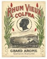 "Ancienne étiquette Rhum  Vieux Colfra Grand Arôme Garanti Naturel  ""visage""  Imp Jouneau  N°973 Paris - Rhum"
