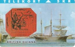TARJETA DE DINAMARCA CON UN BARCO DE TIRADA 3000 (SHIP) SELLO - STAMP BRITISH GUYANA - Barcos