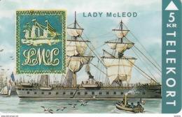TARJETA DE DINAMARCA CON UN BARCO DE TIRADA 2000 (SHIP) SELLO - STAMP LADY Mc LEOD - Sellos & Monedas