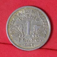 FRANCE 1 FRANCS 1942 -    KM# 902,1 - (Nº17028) - H. 1 Franc