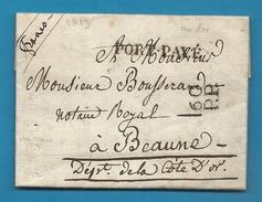 Paris - LAC En Port Payé Pour Beaune. Au Verso, Cachet Pothion 1024 (D Encerclé En Noir) - Marcophilie (Lettres)