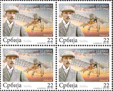 Serbia 2010 One Century Of Aviation In Serbia, Ivan Saric, Airplane, Aircraft, Block Of 4 MNH - Airplanes