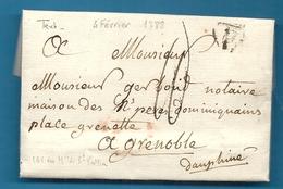 Paris Pour Grenoble. LAC De 1788 Par Le Marquis De St VALLIER. Parle Du Marquis De Pisancon - Marcophilie (Lettres)