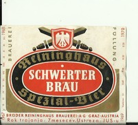 SCHWERTER BRAU --  LABEL, ETIQUETTE  --  GRAZ, AUSTRIA - Bier