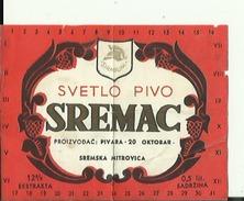SREMAC --  LABEL, ETIQUETTE  --  SREMSKA MITROVICA, SERBIA - Bier