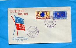MARCOPHILIE TURQUIE-Enveloppe Illustrée F D C- Ankara   15th  Anniversary Council Of Europe-2 Stamps - 1921-... Republic