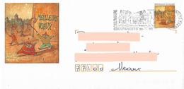PAP Timbre Meilleurs Voeux De 1995 Avec Dessin Du Timbre Pour Illustrer L'enveloppe + Flamme Coulommiers Templiers - Postwaardestukken