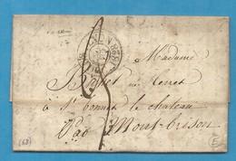 Rhone - Lyon Pour St Bonnet Le Chateau Par Montbrison.Cachet D'essai De Lyon. 1828 - Marcophilie (Lettres)